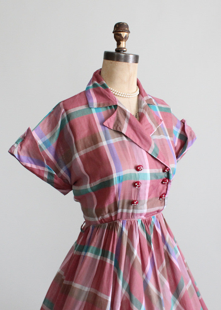 Vintage 1950s Windowpane Plaid Day Dress