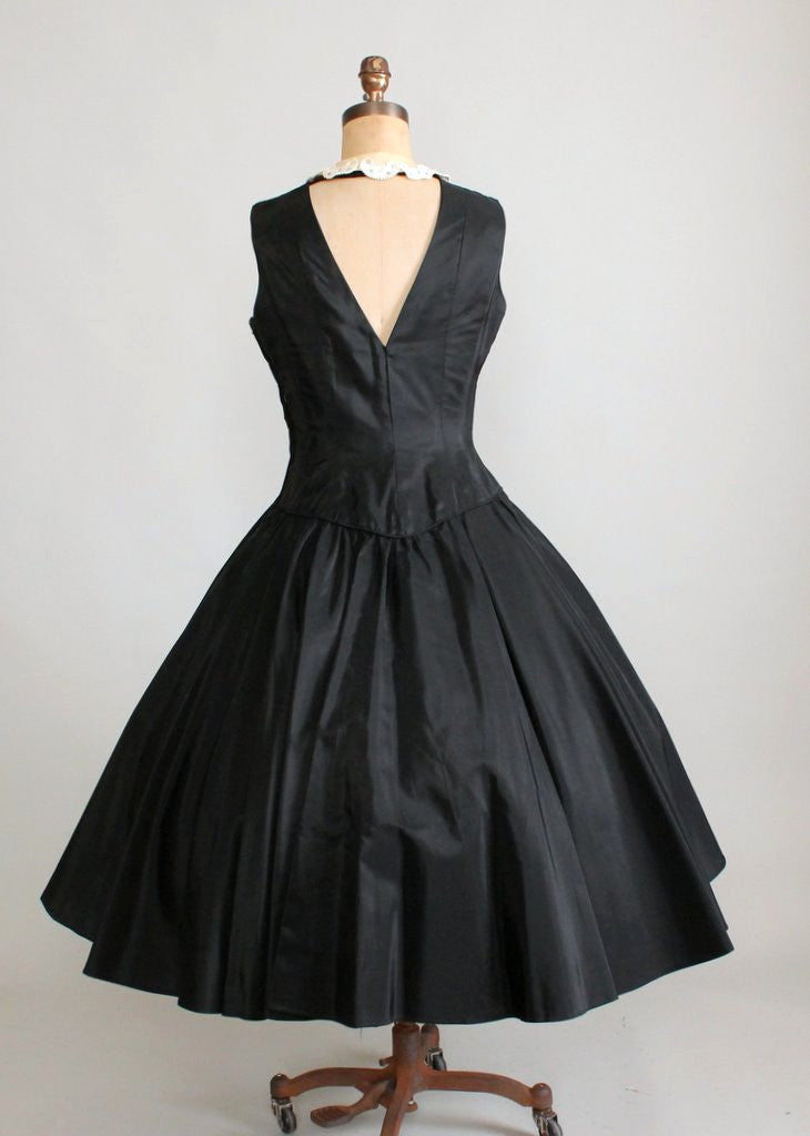 Vintage Early 1950s Black Taffeta Halter Dress with Jacket