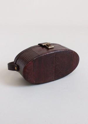 Vintage 1950s Lizard Skin Oval Box Purse