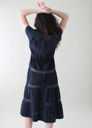 Vintage 1950s Navy Cotton Peek-a-Boo Dress