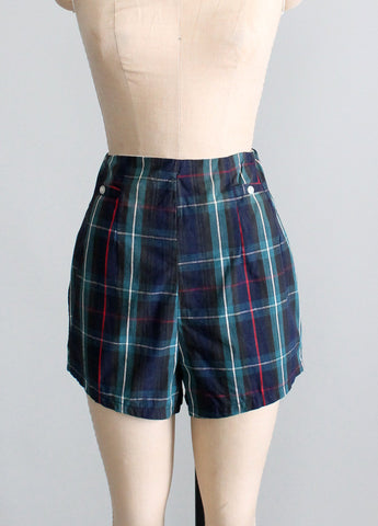 Vintage 1950s plaid pin up shorts