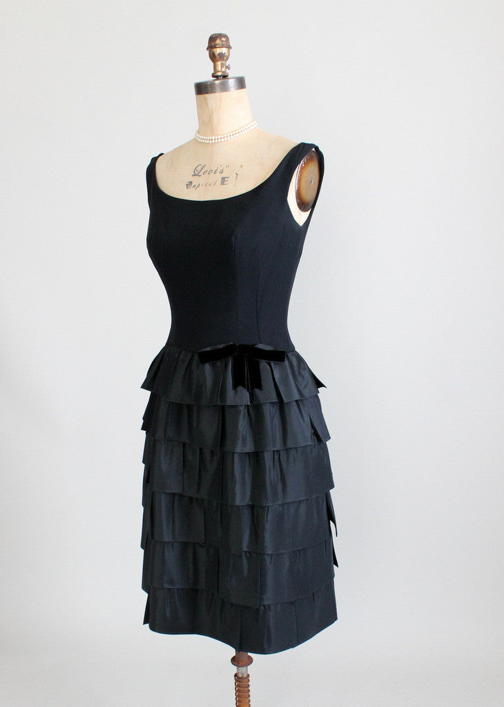 Vintage 1960s Black Cocktail Party Dress