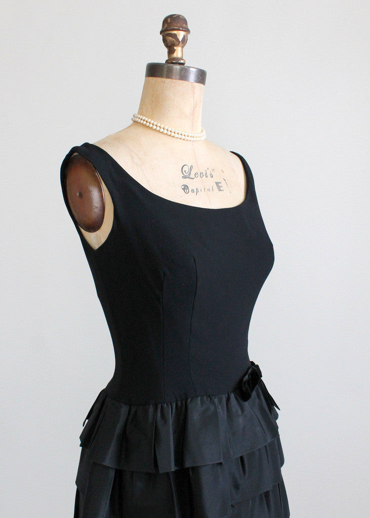 Vintage 1960s Jonny Herbert Black Evening Dress