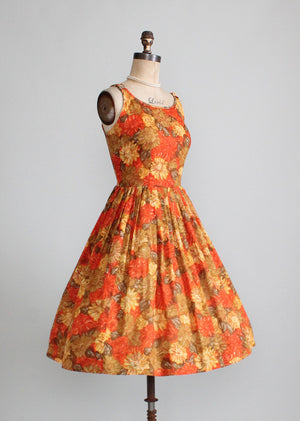 Vintage Early 1960s Autumn Flowers Sundress
