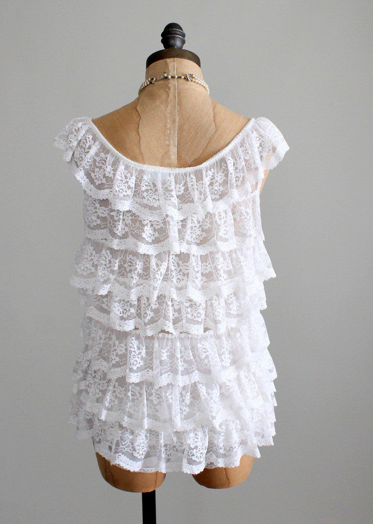 Vintage 1960s White Lace Ruffle Nightie and Bloomers