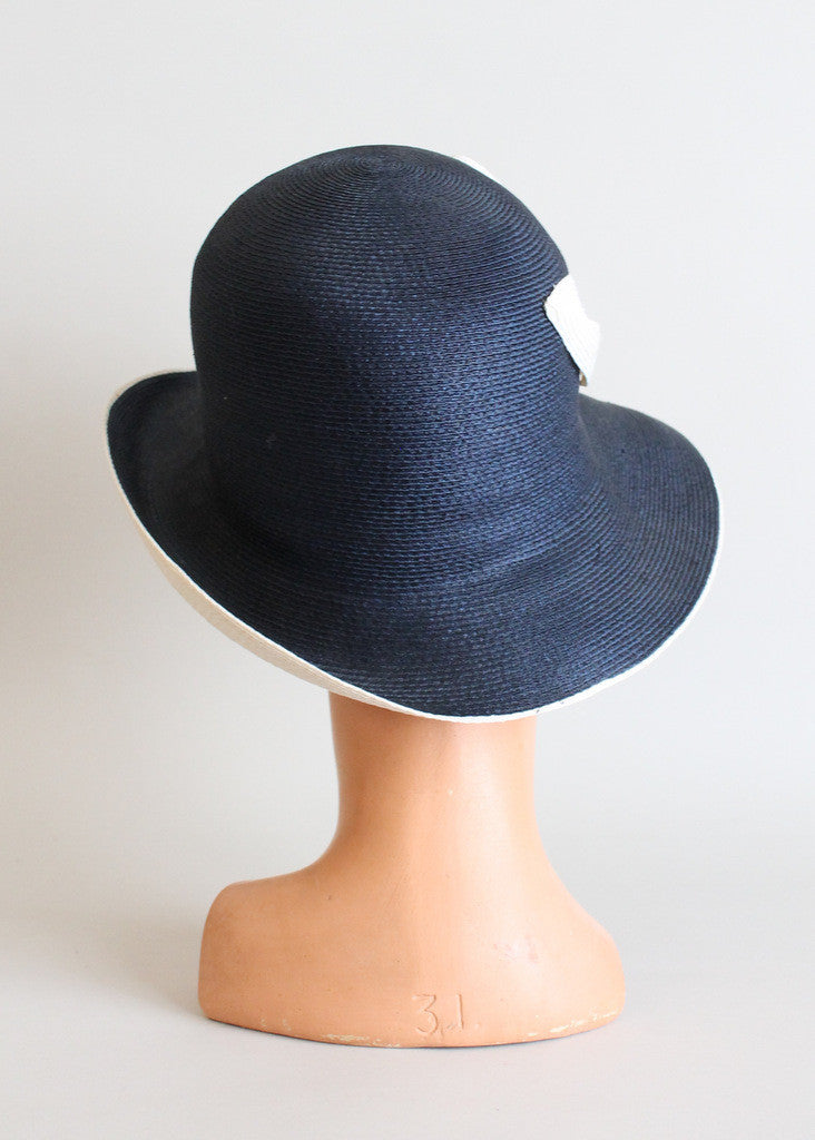 Vintage 1960s Navy and White MOD Cloche Hat