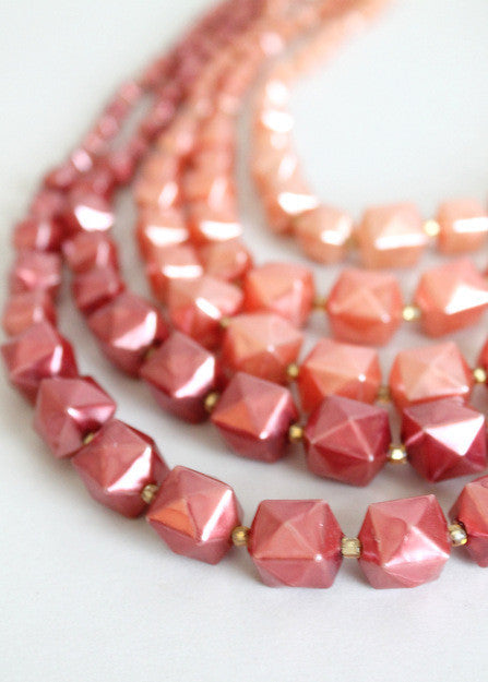 Vintage 1960s Ombre Rose Multi Strand Necklace