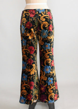 Vintage 1960s Floral Carpet Bell Bottom Pants