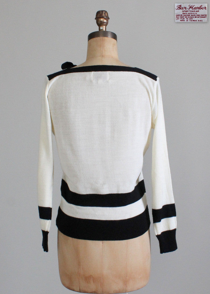 Vintage 1970s Black and White Boatneck Sweater