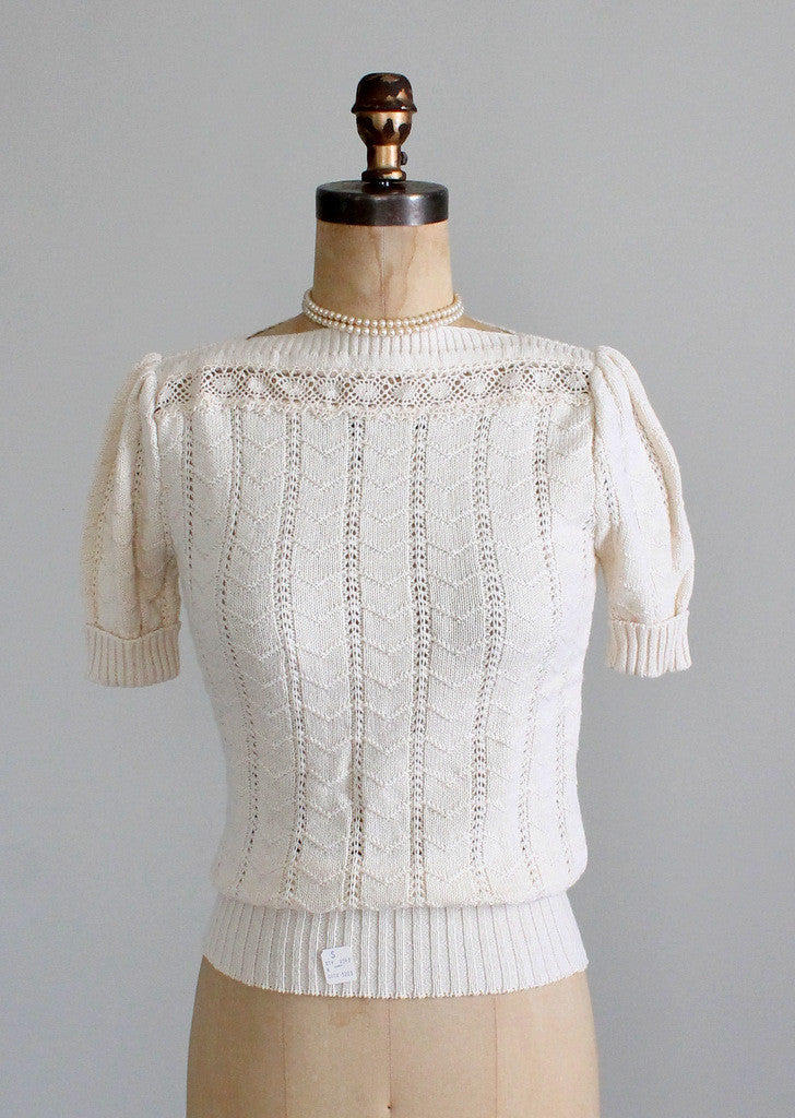 Vintage 1970s Pointelle and Crochet Sweater