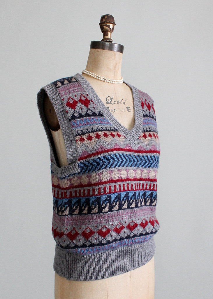 Vintage 1970s Oversized Patterned Sweater Vest
