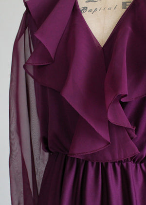 Vintage 1970s Plum Ruffle Dance Dress
