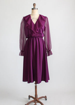 Vintage 1970s Plum Disco Dress