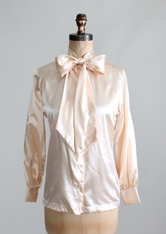 Vintage 1970s NOS Satiny Bow Blouse
