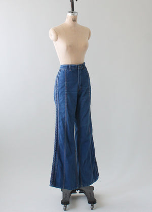 Vintage 1970s Red Snap Bell Bottom Jeans