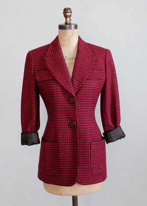 Vintage 1980s Christian Dior Raspberry Houndstooth Jacket
