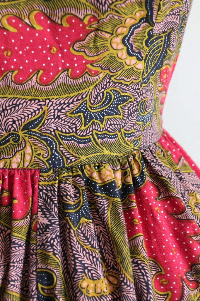 Vintage 1980s Tribal Print Open Back Dress