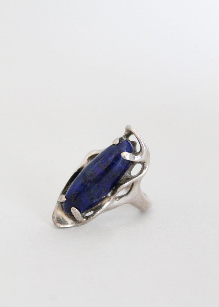 Vintage Restless Waves Silver and Lapis Ring
