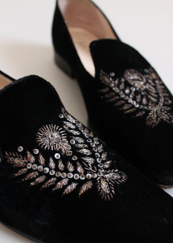 Vintage Embroidered Velvet Loafers