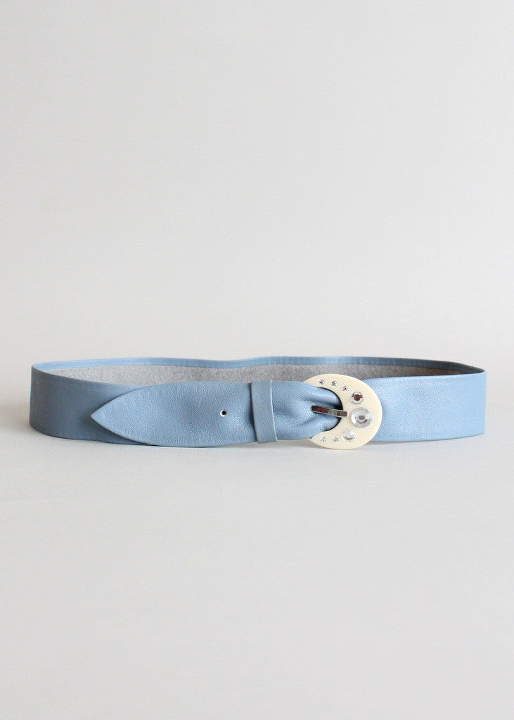 Vintage Blue Leather Belt with Rhinestone Celluloid Buckle