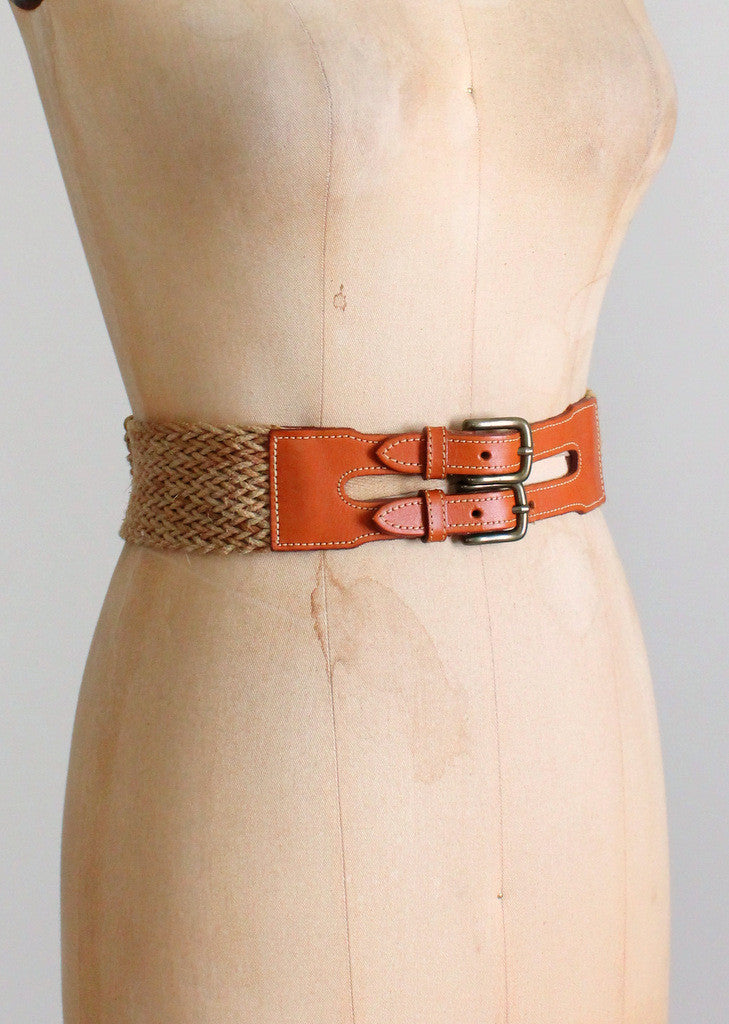 Vintage Leather and Cotton Wide Cinch Belt