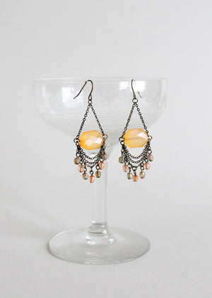 Vintage Citrine Glass Dangle Earrings