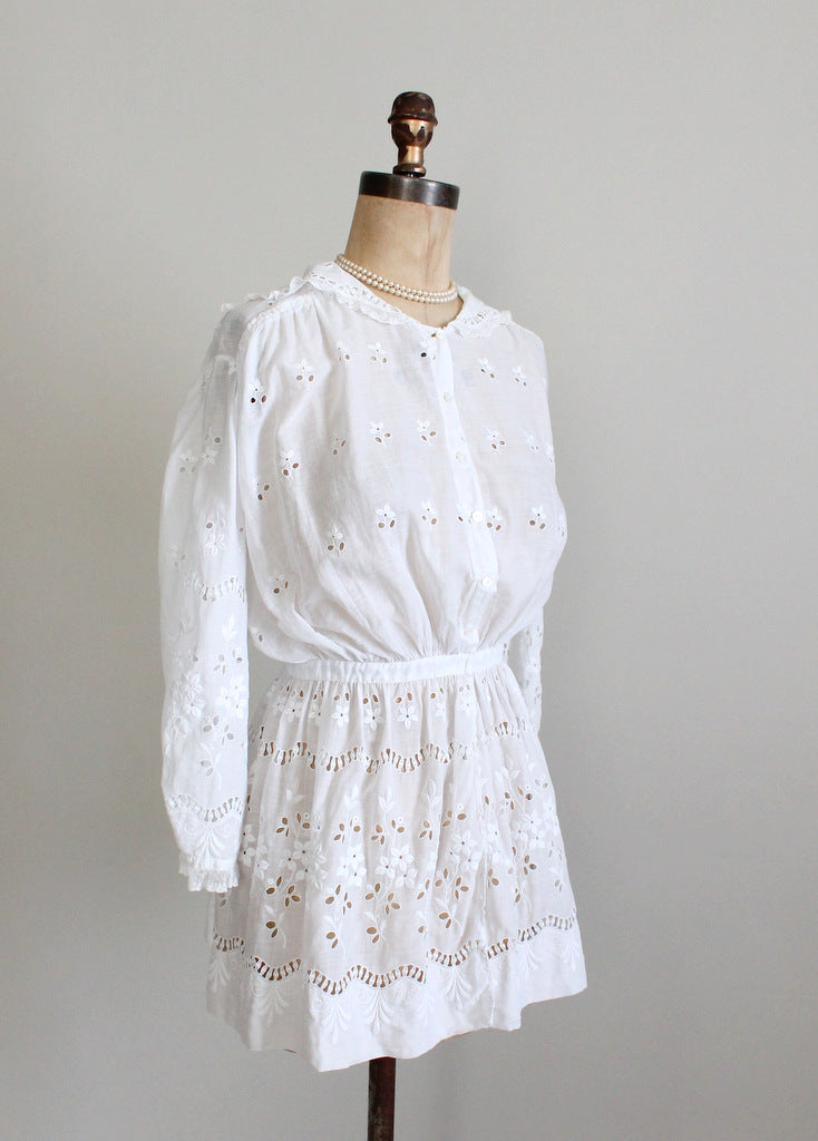 Edwardian white cotton blouse