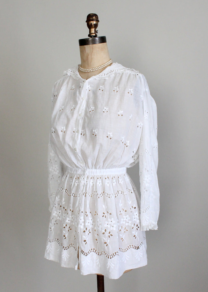 1910s white cotton blouse