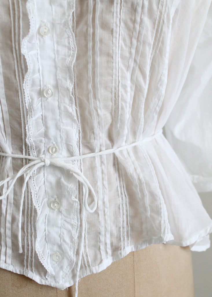 Antique Edwardian White Cotton Blouse
