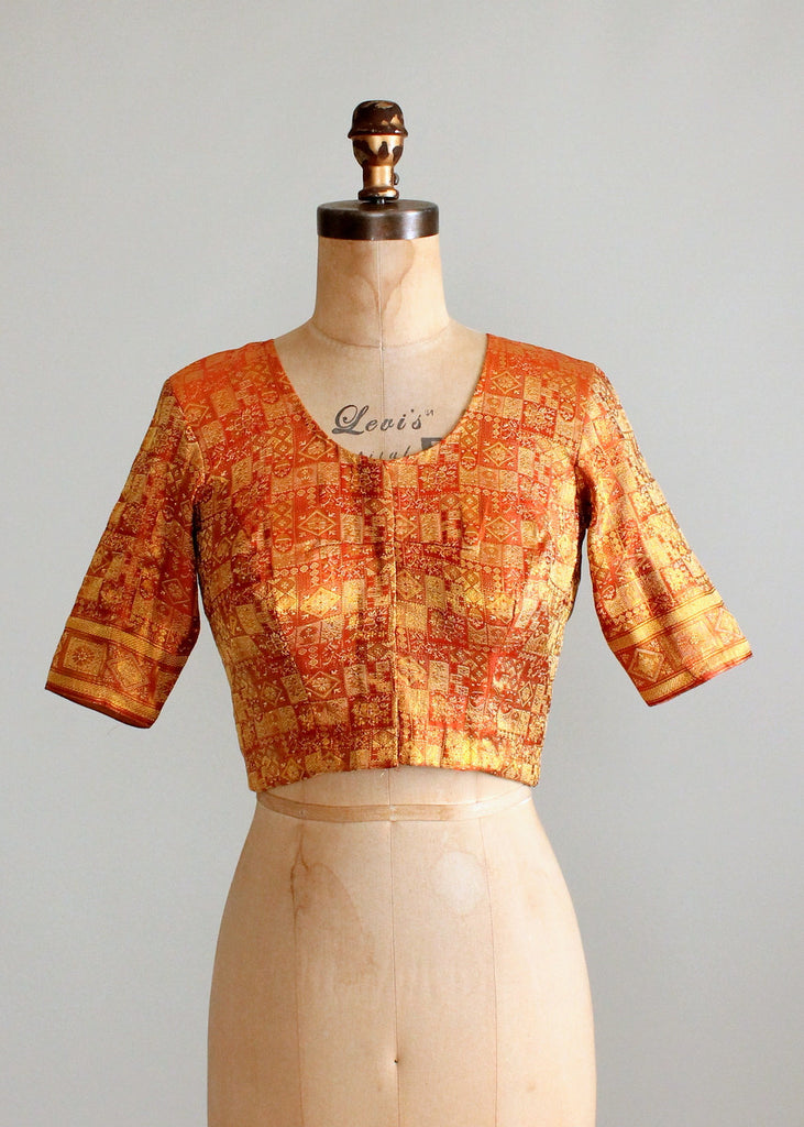 Vintage Indian Golden Silk Fitted Crop Top
