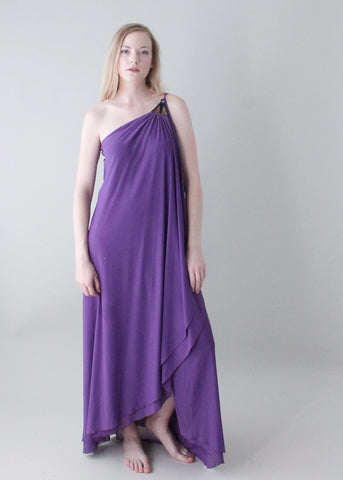 Vintage 1970s Lilli Rubin Purple Evening Dress
