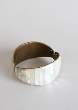 Vintage Mother of Pearl Hinged Bangle Bracelet