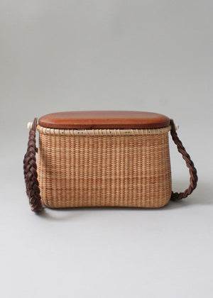 Vintage 1970s Wicker Basket Purse