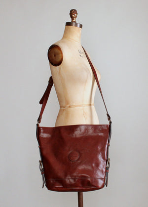 Vintage Italian Brown Leather Tote Purse