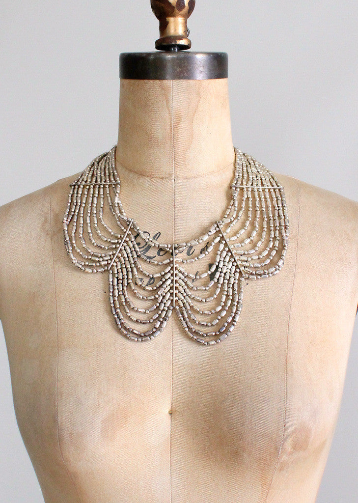 Vintage Silver Beaded Tribal Statement Necklace