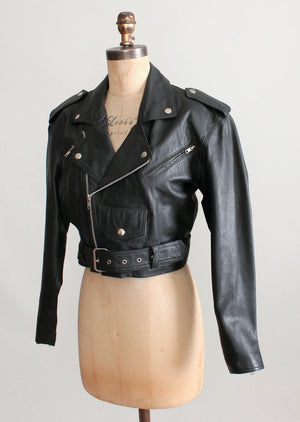 Vintage Black Leather Cropped Biker Jacket