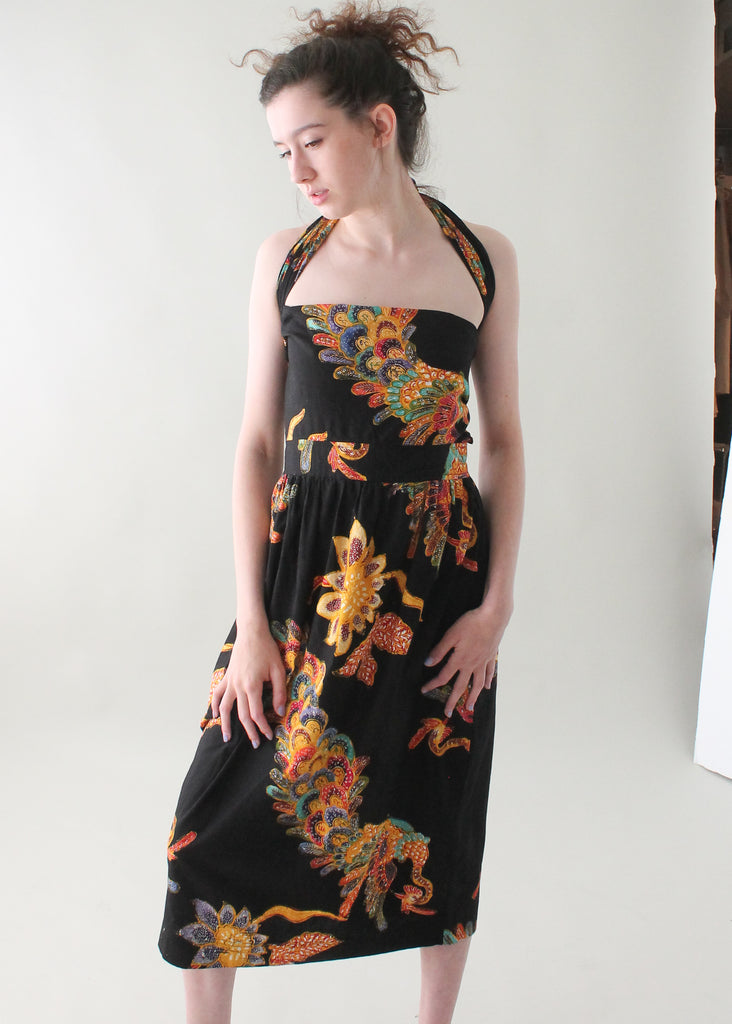 Vintage 1980s Batik Adjustable Halter Dress