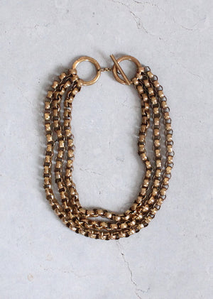 Vintage Early 1950s Chunky Brass Link Multistrand Necklace