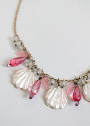 Vintage Glass Shells and Pink Beaded Necklace