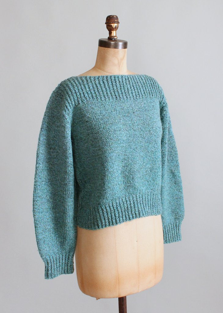 Vintage Blue Handknit Boatneck Sweater