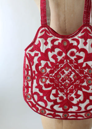 Vintage Indian Embroidered Purse with Mirrors