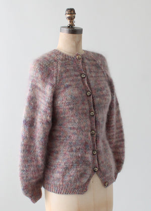 Vintage Hand Knit Muted Colors Mohair Cardigan