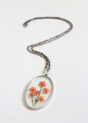 Vintage 1970s Pressed Flower Pendant Necklace