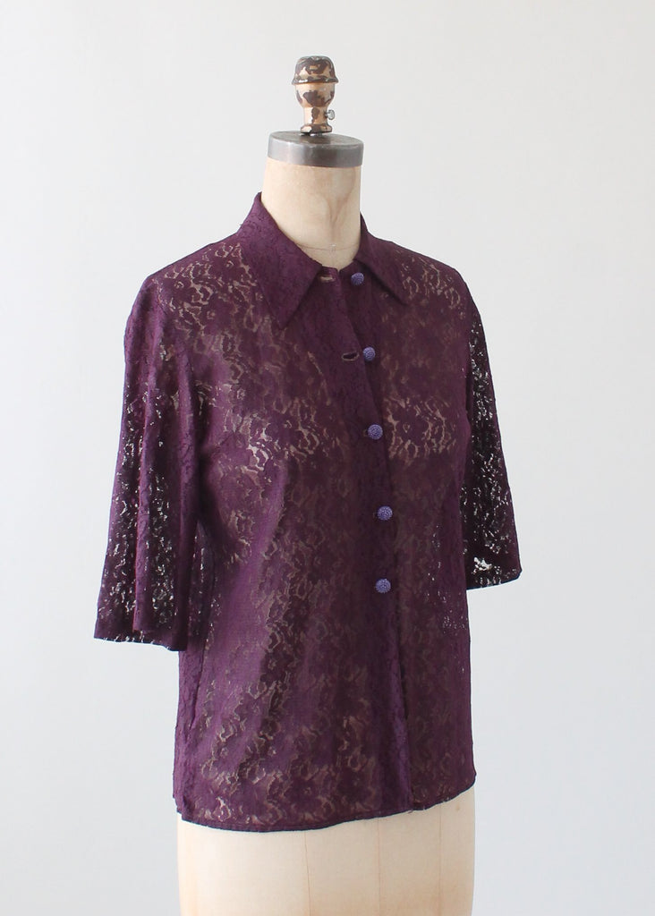 Vintage Purple Lace Blouse