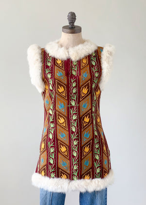 Vintage Suede and Fur Tunic Top