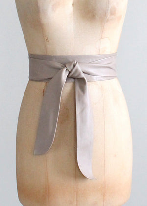 Vintage 1980s Taupe Leather Wrap Belt