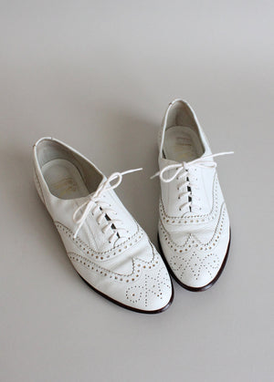 Vintage White Wing Tip Oxfords