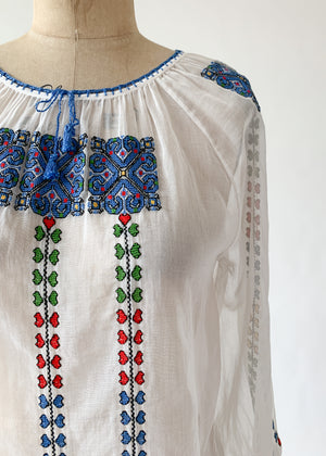 Vintage 1970s Yugoslavian Embroidered Cotton Top