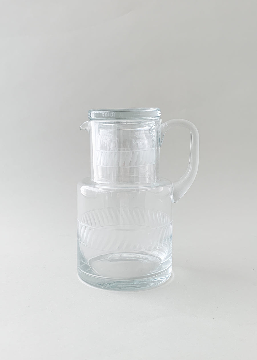 Vintage Etched Glass Water Carafe Set