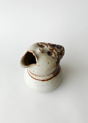 Vintage Face Spout Ceramic Pitcher
